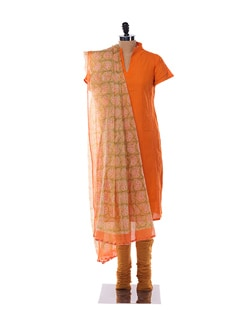 Bright orange and yellow suit with kota dupatta - KILOL