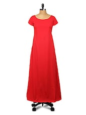 Scarlet red A-line polyester maxi dress
