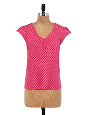 Pink Cotton Spandex Printed Top - By