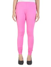 Solid Pink Cotton Leggings - By