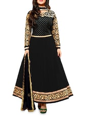 Black Embroidered Semi Stitched Silk Anarkali Suit Piece - By