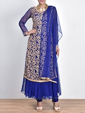 Royal Blue Zari Embroidered Net Suit Set - By