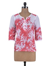 White And Pink Printed Polyester Top - By