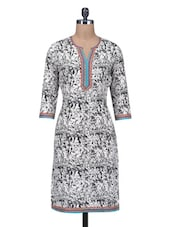 Black And White Cotton Printed Kurta - By