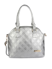Silver Leatherette Hand Bag - By