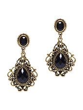 Black Acrylic Stone And Antique Gold Dangler Earrings - By