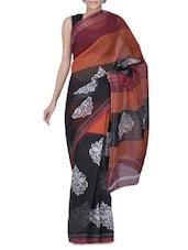 Black Cotton Printed Saree - By