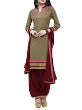 Green Printed Pure Cotton Unstitched Suit Set - By