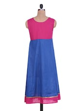 Pink And Blue Cotton Anarkali Kurti - By