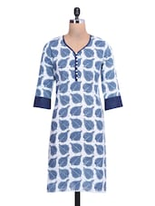 Blue And White Cotton Printed Kurti - By