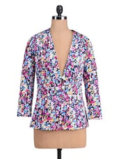 Multicoloured Cotton Spandex Printed Jacket - By