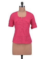 Pink Cotton Solid Three Quarter Sleeved Top - By