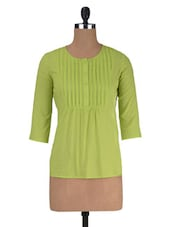 Green Cotton Solid Three Quarter Sleeved Top - By