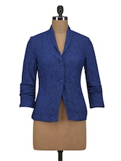 Blue Polyester  Lace Solid Long Sleeved Jacket - By