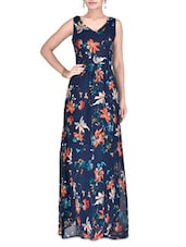 Blue Poly Georgette Floral Printed Dress - By