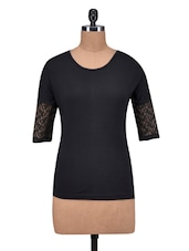 Black Cotton Plain Top - By