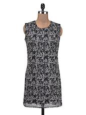 Black Poly Chiffon Printed A-Line Dress - By