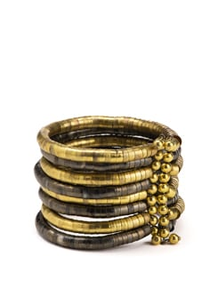 Multi Bangle Cuff in Gold and Antique Finish Silver - Flaunt