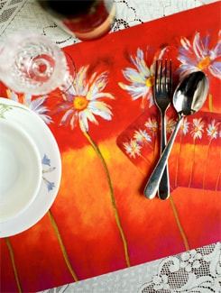 Painted Flower Print Placemat & Coaster Set - Freelance