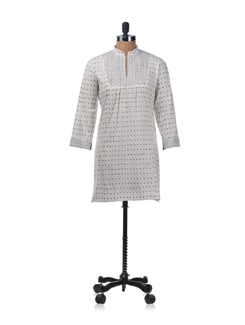 White and Grey Kurti with Block Printed Yoke and Puff Sleeves - KILOL