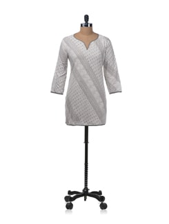White and Grey Kurti With Flat Edged Piping - KILOL
