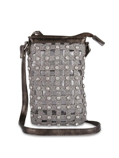 Grey Designer Sling Bag with Diamonte Studs - ALESSIA