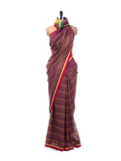 Colour block handloom cotton saree in navy blue - Desiweaves