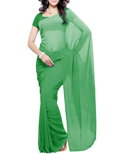 7aee4c88b Buy Plain Georgette Saree(light Green) by Khoobee - Online shopping ...