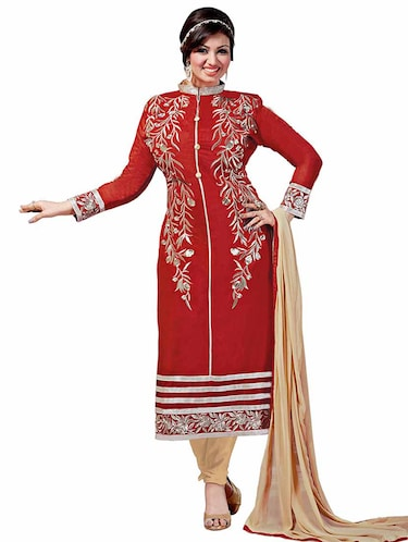 Embroidered unstitched churidaar suit - 10089809 - Standard Image - 1