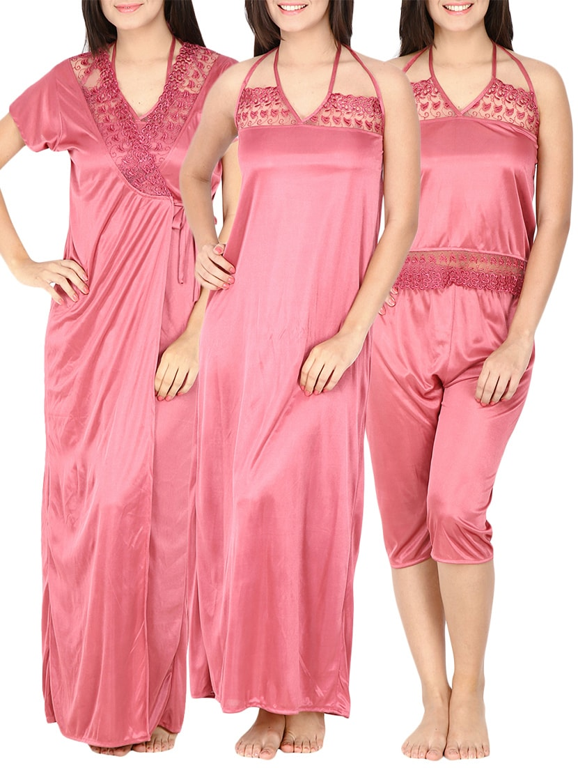Buy 6 Piece Satin Night Dress Set (pink, Free Size) by Secret Wish ...