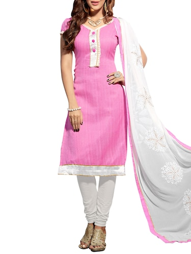 Pink and White Plain Dress Material with heavy Dupatta Jute Silk Unstitched 90c10980b