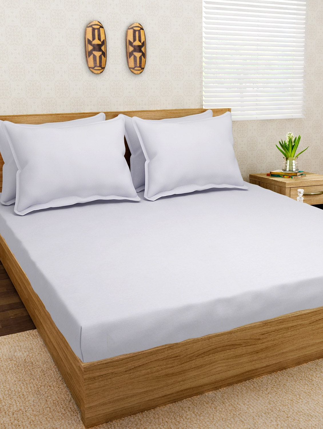 Buy Jersey Dreams White Knit Fitted Bedsheet Set By Jersey Dreams   Online  Shopping For Bed Sheet Sets In India | 10148566