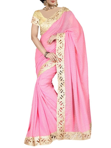 4064702d0 Buy Pink Pure Georgette Saree for Women from Nishtha for ₹2765 at 0 ...