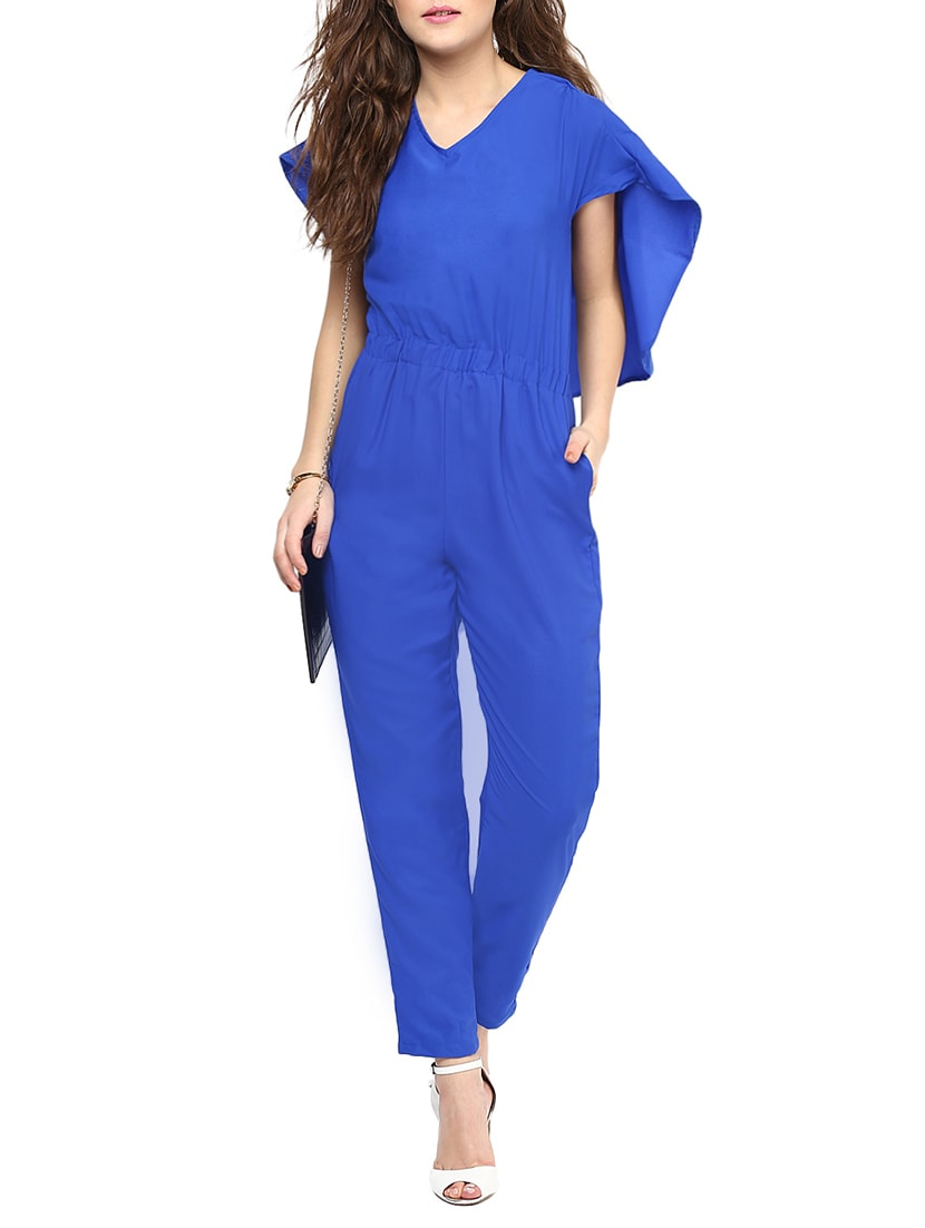 3303a3b0d603 Buy Blue Solid Cap Sleeve Jumpsuit by Uptownie Lite - Online ...