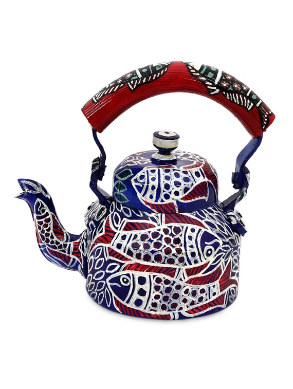 Royal Blue Painted Aluminium Tea Kettle 1016898 Zoom Image 1