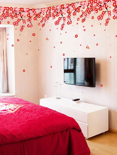 buy wall stickers flowers pink & red romantic cherry wedding