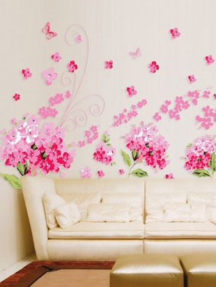 Buy Wall Stickers Flowers Pink Blossoms For Living Room Art And ...