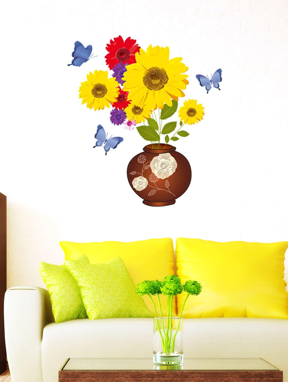 Buy Wall Stickers Sunflower Wall Decals In Flower Pot Bouquet Fresh ...