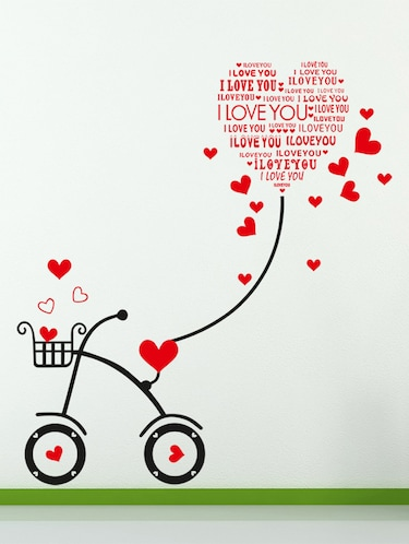 Wall Stickers Heart-shaped I Love You Kids Room Bicycle with String Decal Cute - 10357404 - Standard Image - 1