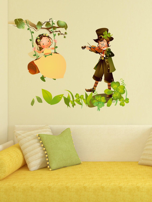 Buy Wall Stickers Kids Room Baby Girl Swinging In Garden With Boy ...