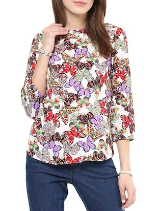 purple printed regular top - 10401663 - Standard Image - 1