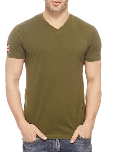 578fad454 Buy Olive Green Cotton T-shirt for Men from Gritstones for ₹404 at ...