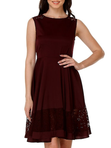 b857f823d09f Buy Maroon Polycrepe   Lace Dress by Kaaryah - Online shopping for ...