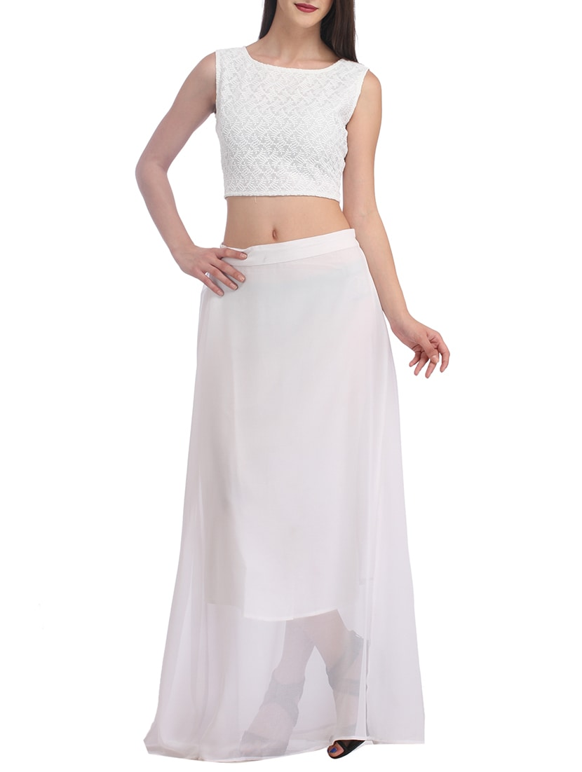 b96218fd5c ... white georgette skirt top set - 10715017 - Zoom Image - 1