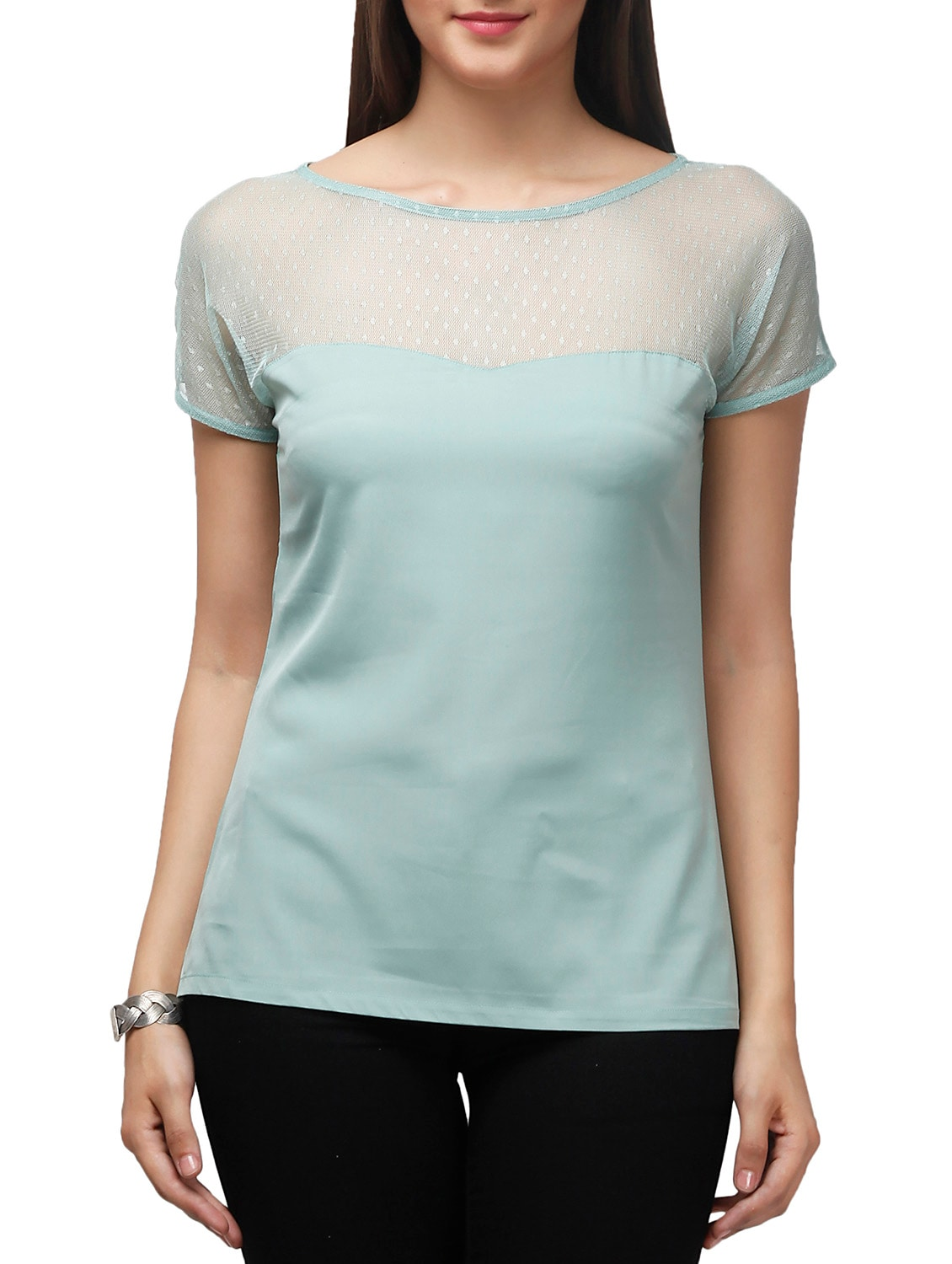 Illusion Neck Pastel Green Top 10734292 Zoom Image 1