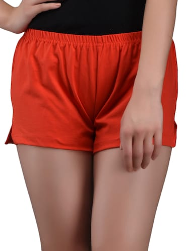 Red Cotton lycra Hot Pants - 1081303 - Standard Image - 1
