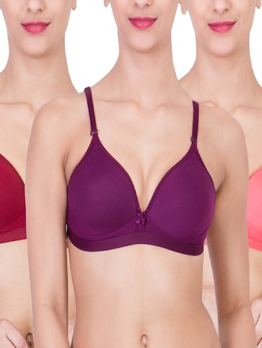 maroon,orange,dark purple cotton bra - 10937817 - Standard Image - 1
