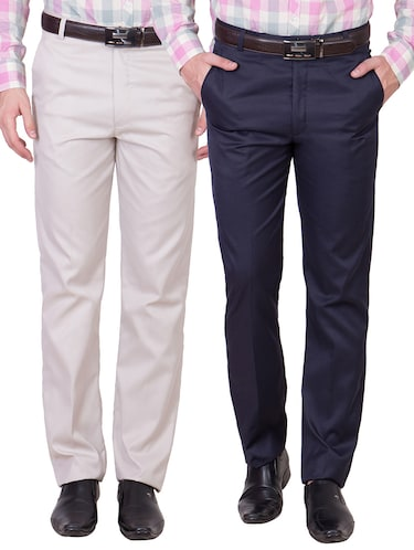 multi colored cotton formal trouser (Set Of 2) - 10972625 - Standard Image - 1