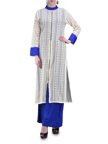 Buy Lace Full Front Zipper Blue Salwar Suit Set for Women