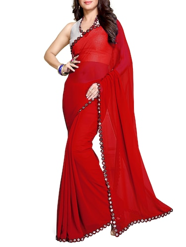 red georgette bordered saree with blouse - 11049494 - Standard Image - 1